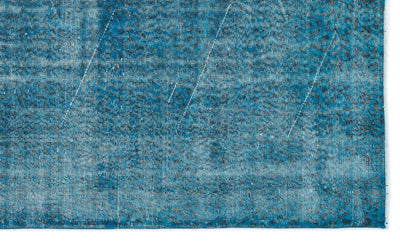 Turquoise  Over Dyed Vintage Rug 5'1'' x 8'6'' ft 155 x 260 cm
