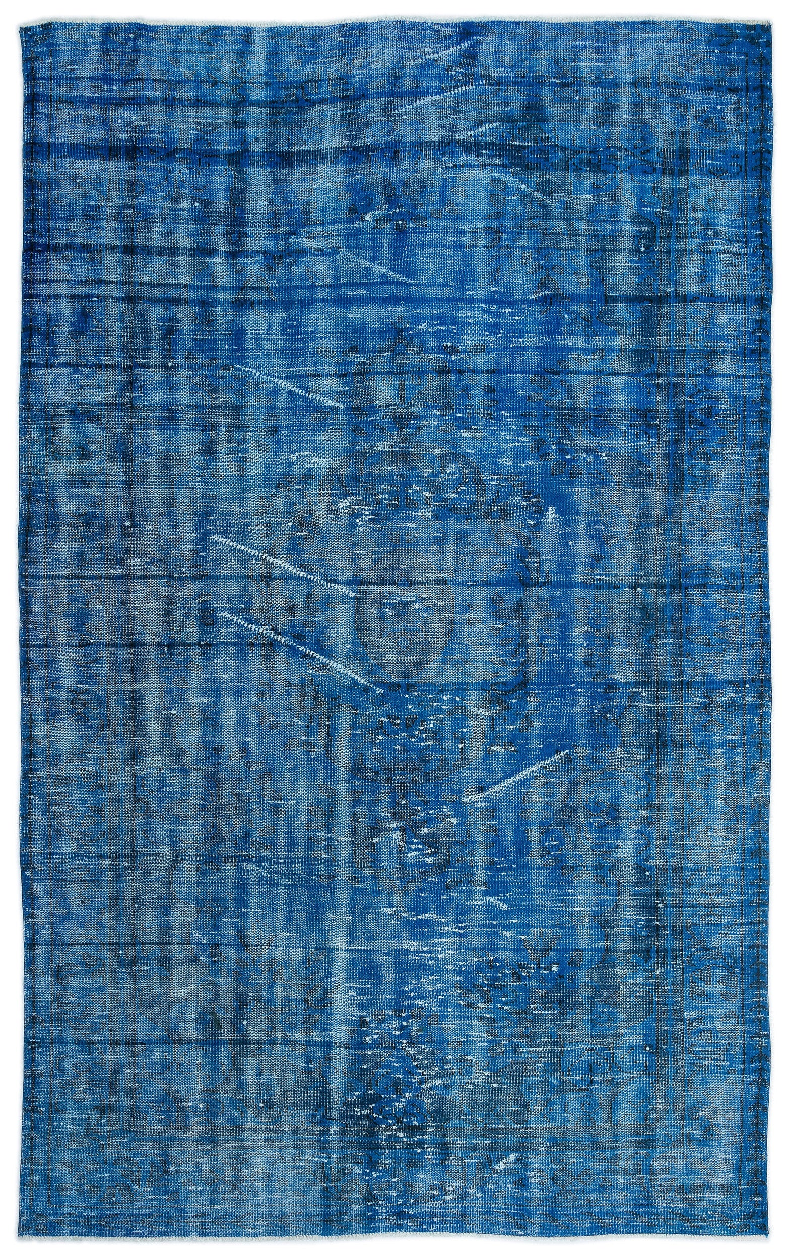 Turquoise  Over Dyed Vintage Rug 6'0'' x 9'8'' ft 183 x 295 cm