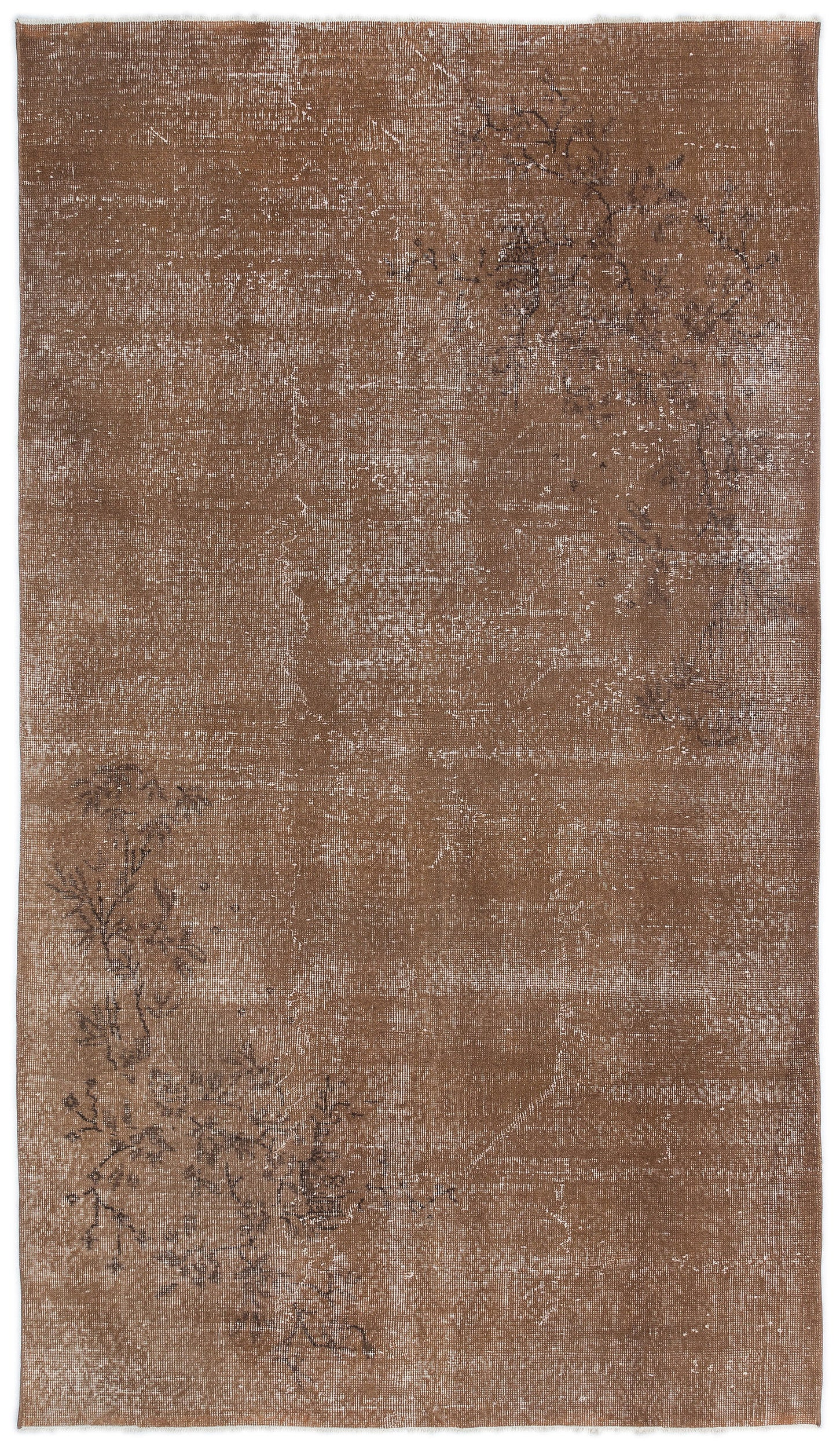 Brown Over Dyed Vintage Rug 4'9'' x 8'4'' ft 145 x 254 cm