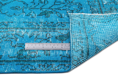 Turquoise  Over Dyed Vintage Rug 5'4'' x 9'3'' ft 163 x 282 cm