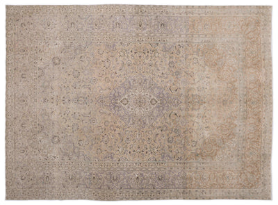 Beige Over Dyed Vintage XLarge Rug 9'4'' x 12'9'' ft 285 x 388 cm