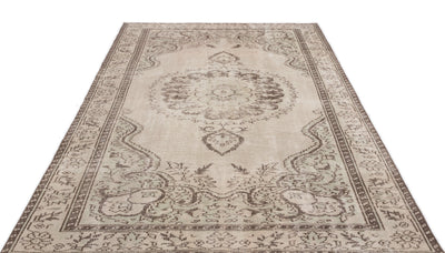 Beige Over Dyed Vintage Rug 5'10'' x 9'5'' ft 178 x 287 cm