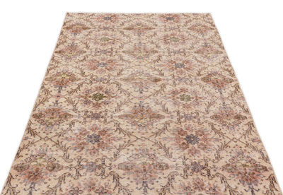 Beige Over Dyed Vintage Rug 3'10'' x 6'8'' ft 116 x 203 cm
