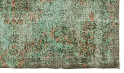 Green Over Dyed Vintage Rug 5'4'' x 9'3'' ft 163 x 283 cm