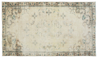 Beige Over Dyed Vintage Rug 4'10'' x 8'2'' ft 148 x 250 cm