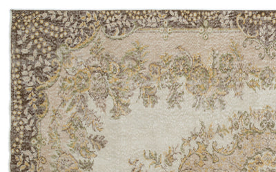 Beige Over Dyed Vintage Rug 5'10'' x 9'6'' ft 178 x 290 cm