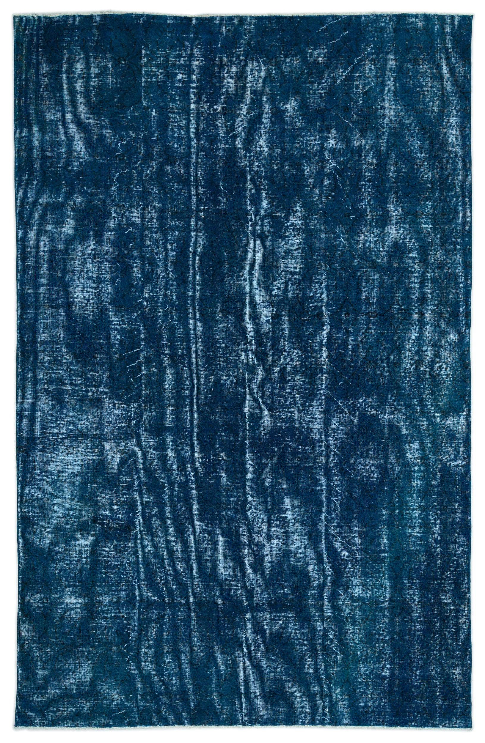 Turquoise  Over Dyed Vintage Rug 5'10'' x 9'2'' ft 178 x 280 cm