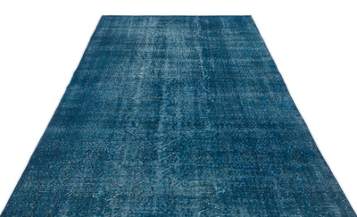 Turquoise  Over Dyed Vintage Rug 5'3'' x 8'4'' ft 161 x 254 cm