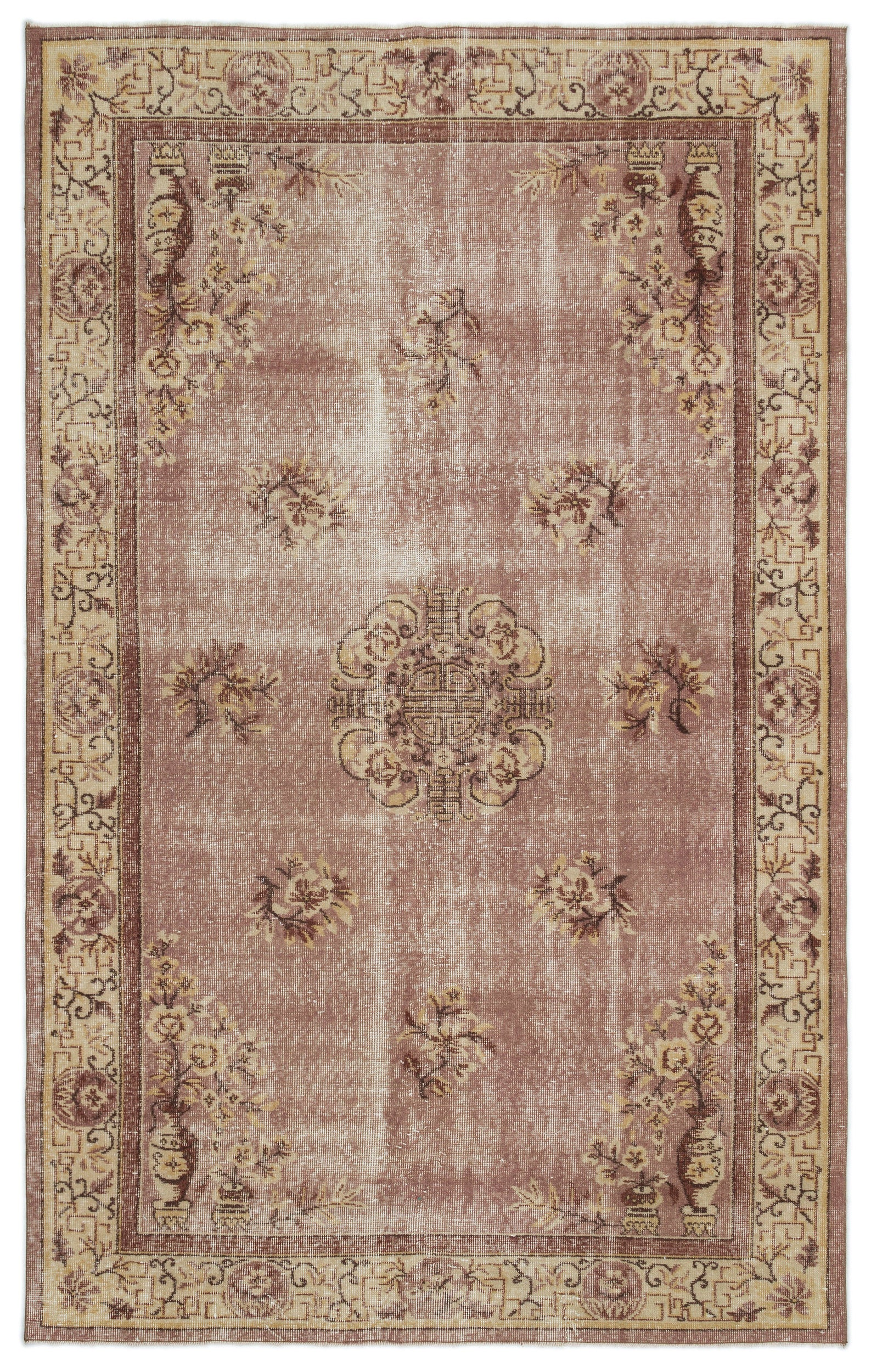 Naturel Over Dyed Vintage Rug 5'9'' x 9'1'' ft 174 x 278 cm