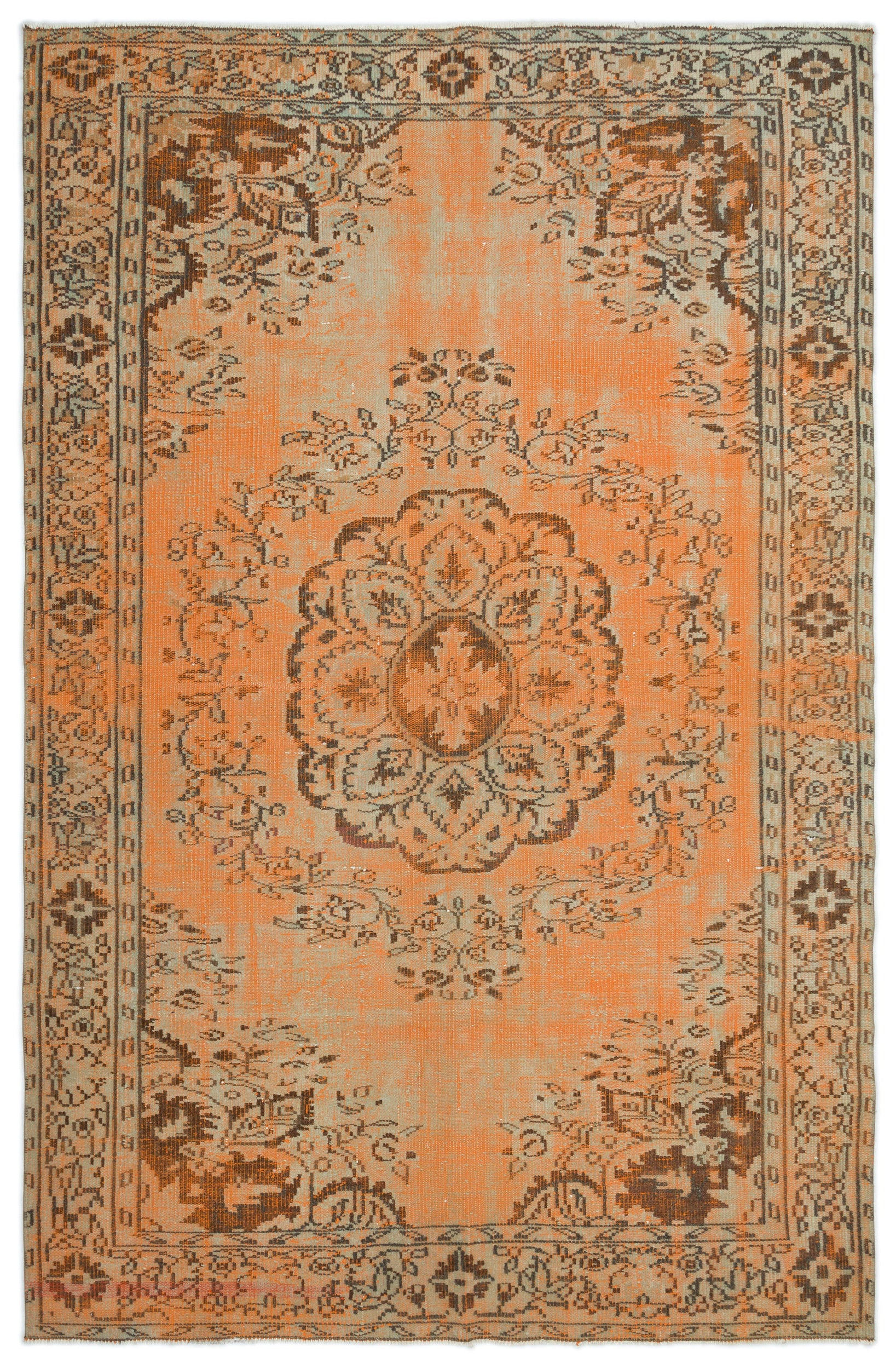 Naturel Over Dyed Vintage Rug 5'7'' x 8'6'' ft 171 x 260 cm