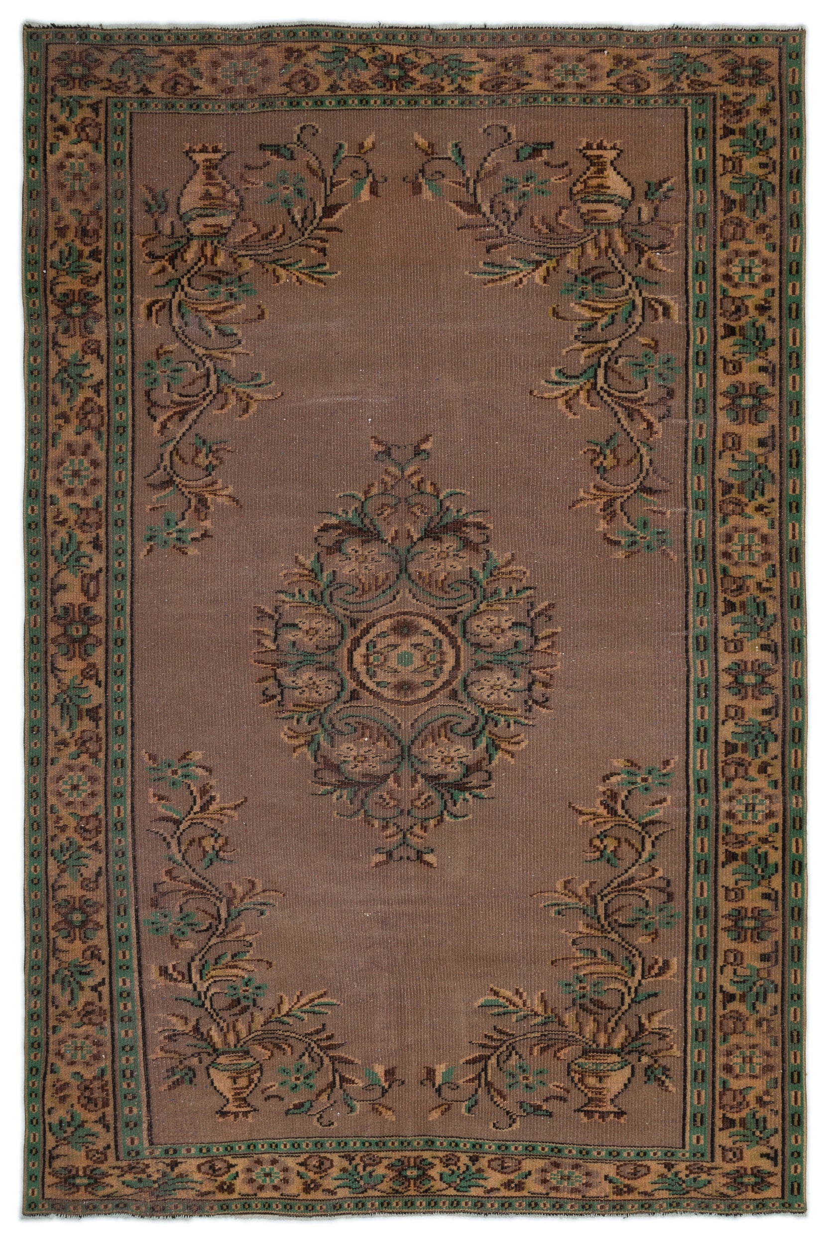 Naturel Over Dyed Vintage Rug 6'0'' x 9'1'' ft 183 x 276 cm