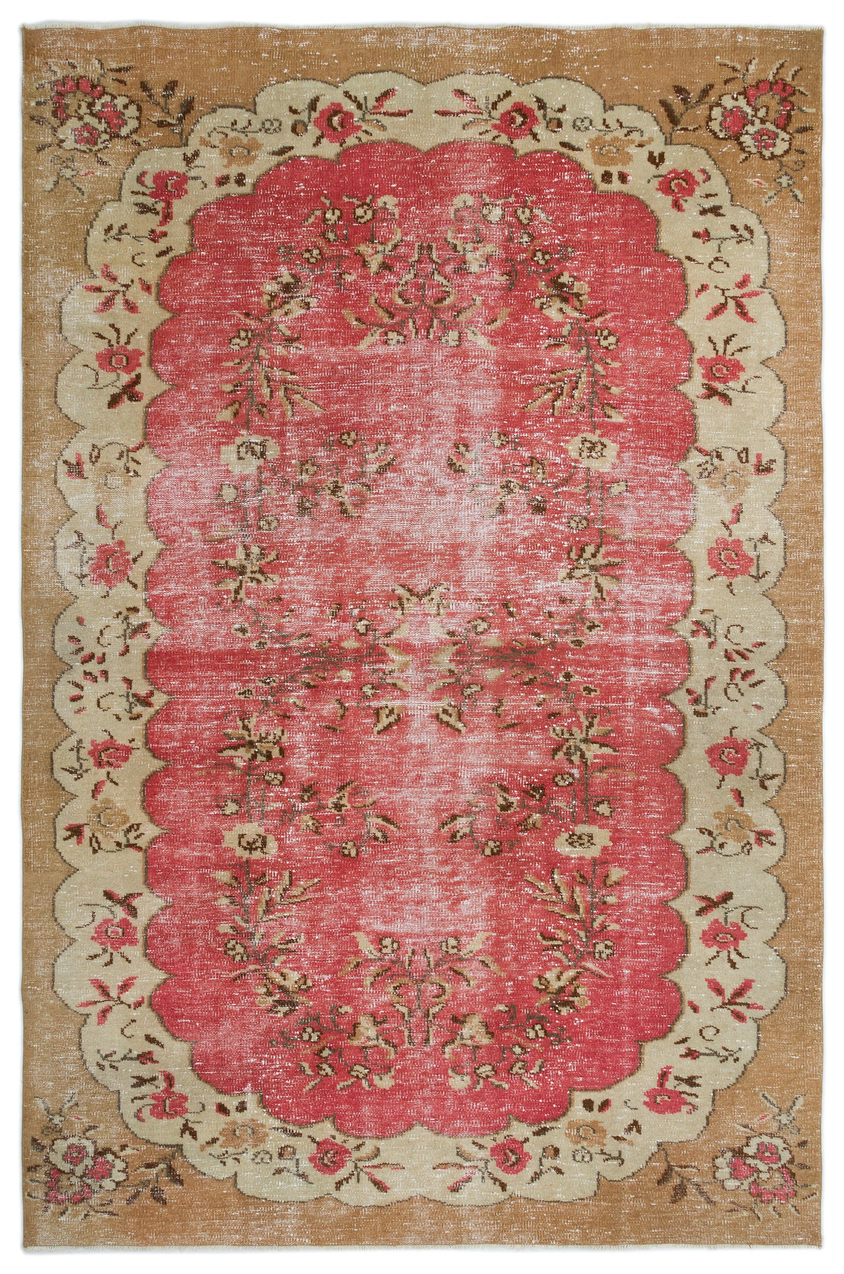Retro Over Dyed Vintage Rug 6'5'' x 9'7'' ft 195 x 293 cm