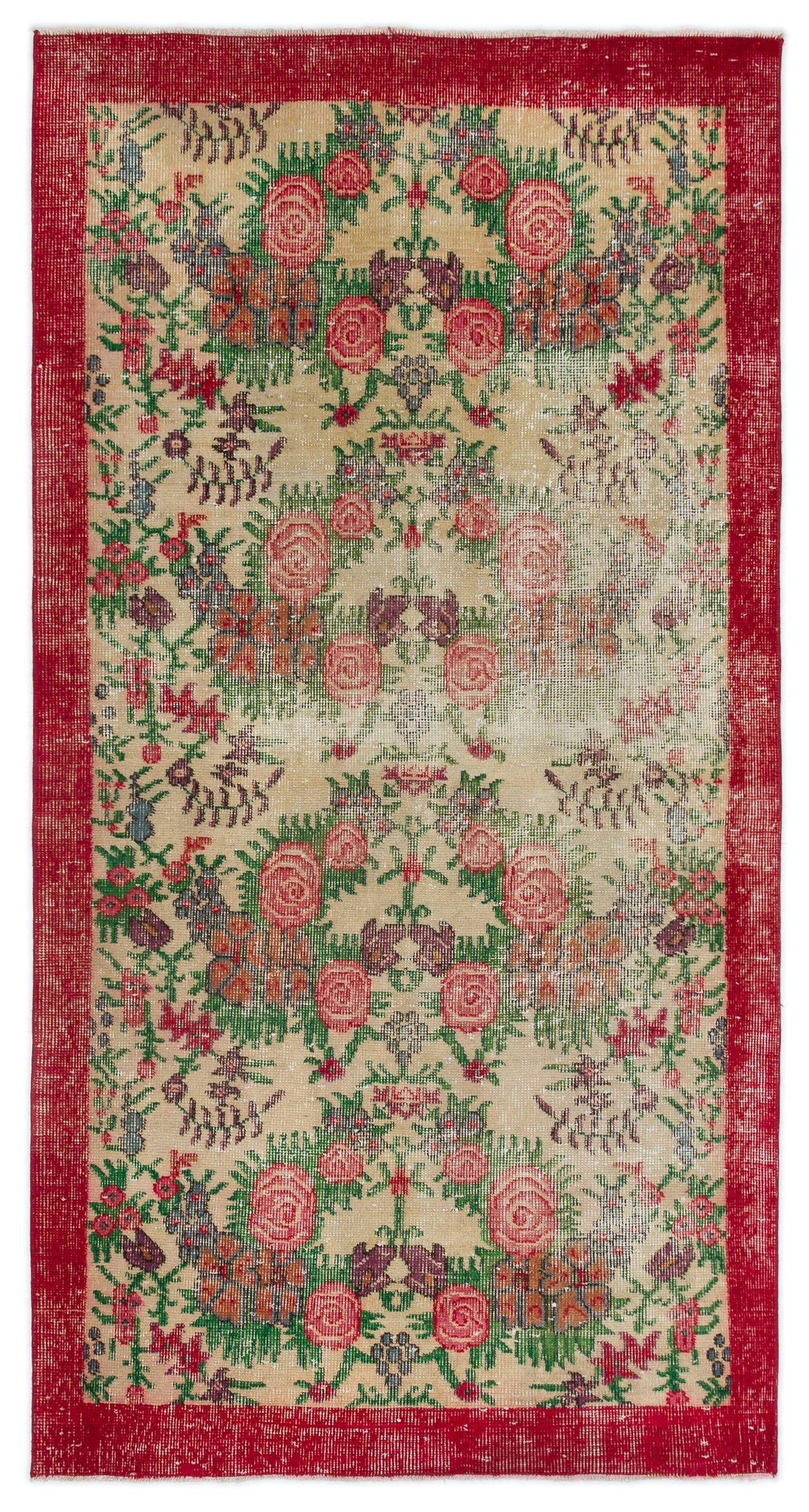 Retro Over Dyed Vintage Rug 3'7'' x 6'8'' ft 110 x 204 cm