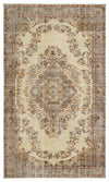 Beige Over Dyed Vintage Rug 5'3'' x 8'11'' ft 160 x 272 cm