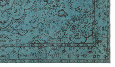 Turquoise  Over Dyed Vintage Rug 5'5'' x 9'5'' ft 165 x 288 cm