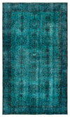 Turquoise  Over Dyed Vintage Rug 4'4'' x 9'1'' ft 133 x 277 cm