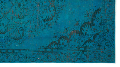 Turquoise  Over Dyed Vintage Rug 5'4'' x 9'9'' ft 163 x 298 cm