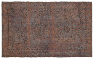 Brown Over Dyed Vintage Rug 6'4'' x 10'2'' ft 192 x 311 cm