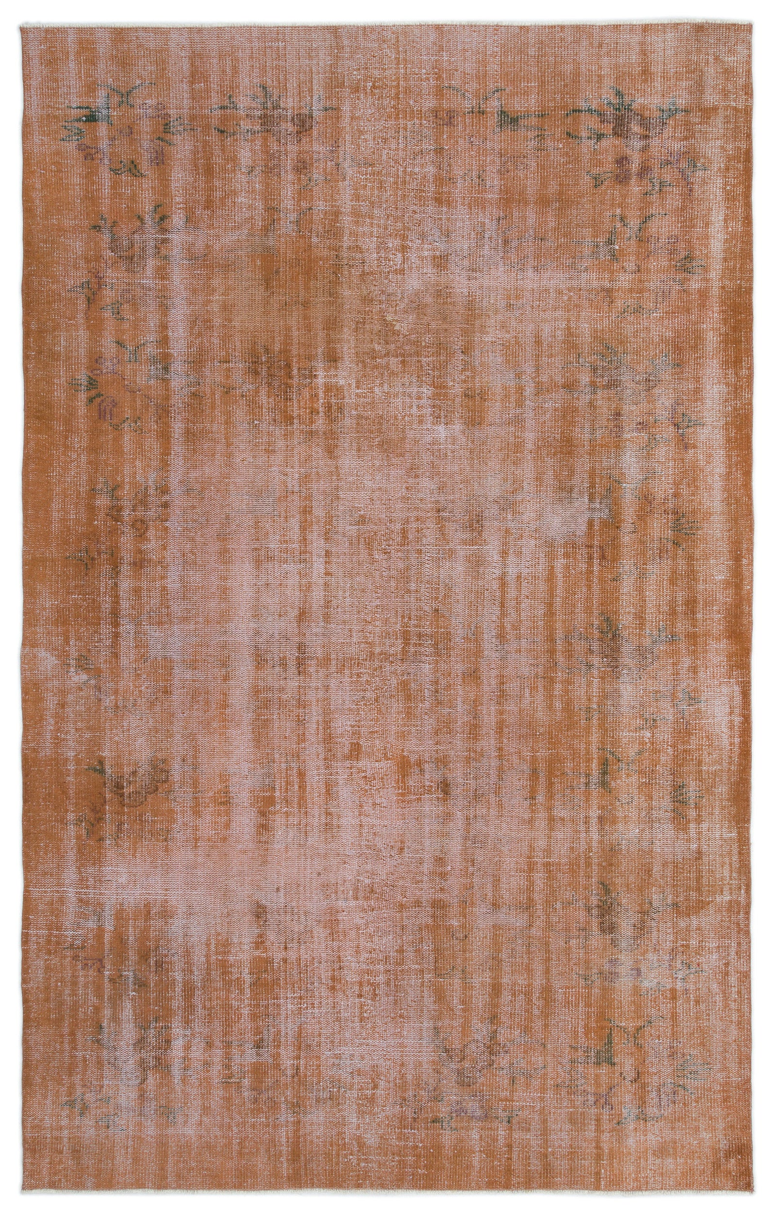 Brown Over Dyed Vintage Rug 5'12'' x 9'4'' ft 182 x 285 cm
