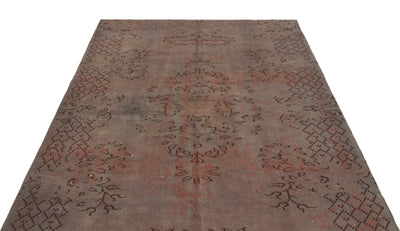 Brown Over Dyed Vintage Rug 5'5'' x 8'2'' ft 164 x 250 cm
