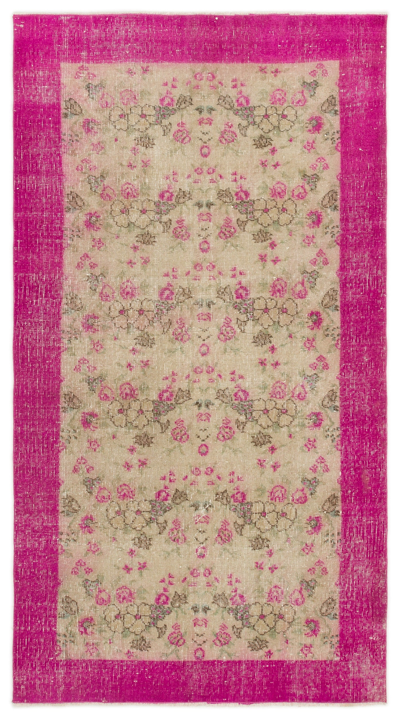 Naturel Over Dyed Vintage Rug 3'6'' x 6'2'' ft 106 x 188 cm
