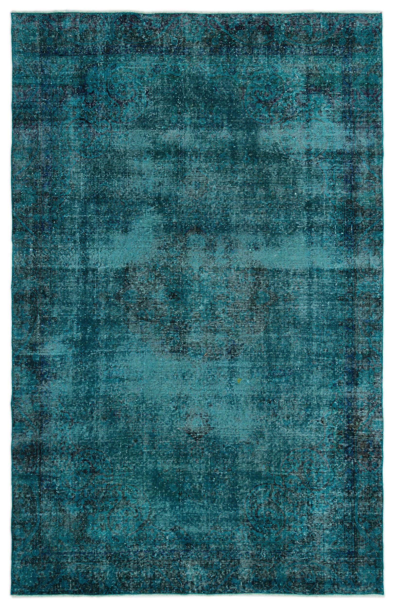Turquoise  Over Dyed Vintage Rug 6'2'' x 9'6'' ft 188 x 290 cm