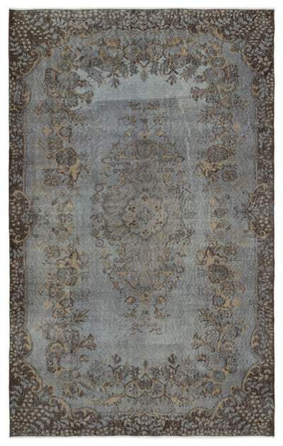 Gray Over Dyed Vintage Rug 5'9'' x 9'2'' ft 174 x 280 cm