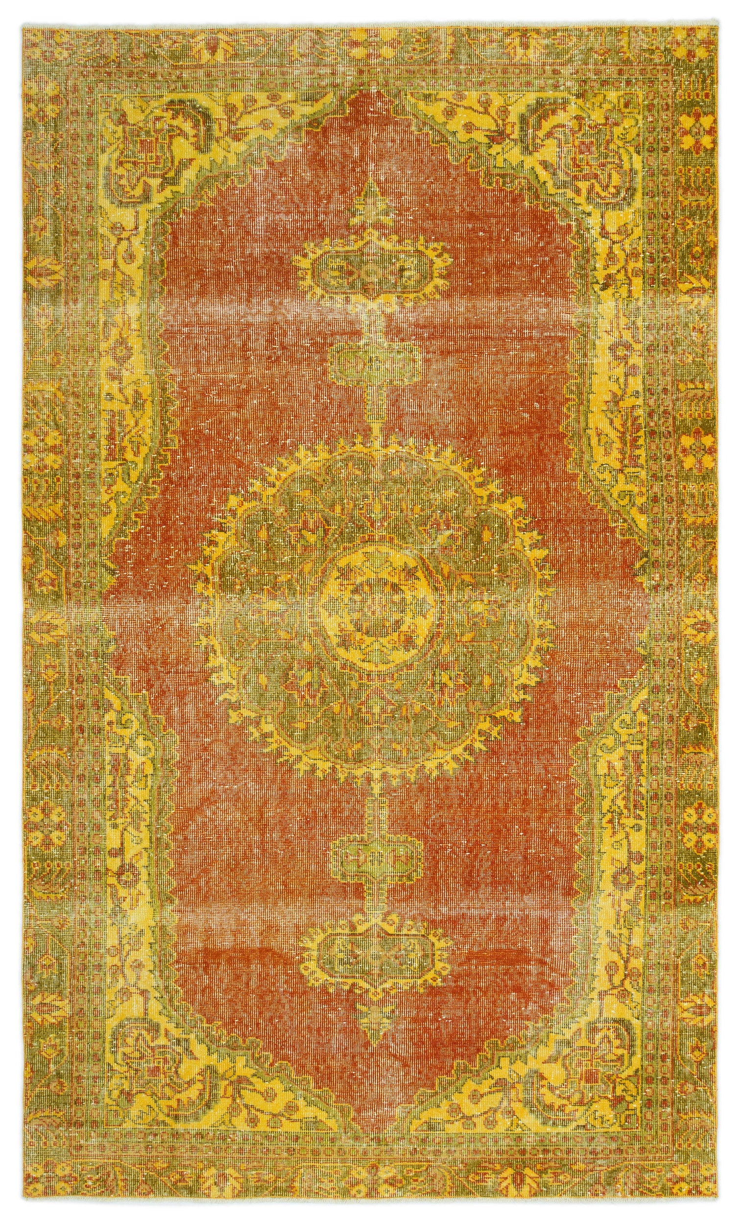 Retro Over Dyed Vintage Rug 5'7'' x 9'3'' ft 169 x 283 cm