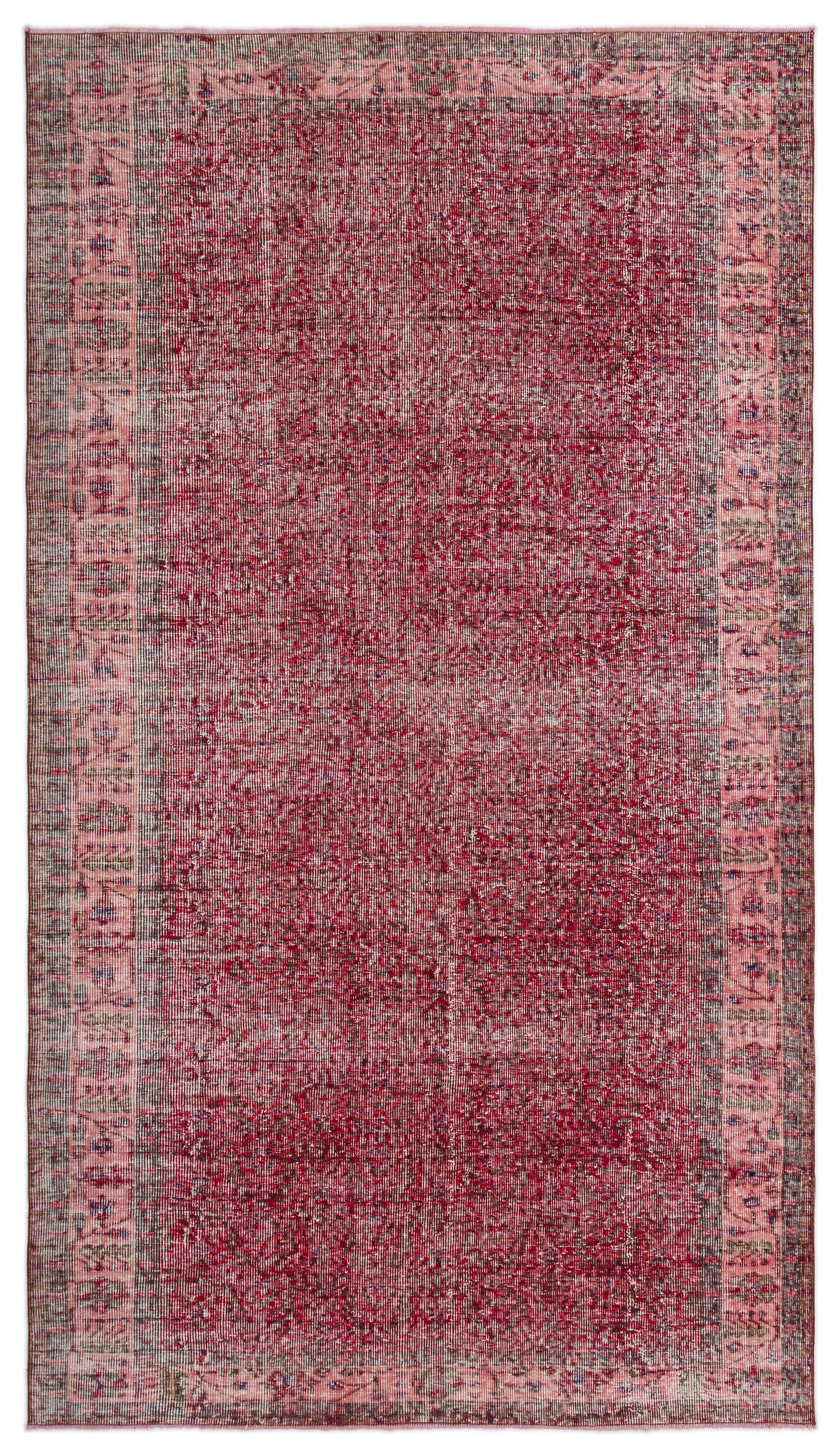 Red Over Dyed Vintage Rug 5'7'' x 9'11'' ft 170 x 303 cm