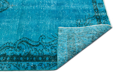Turquoise  Over Dyed Vintage Rug 4'10'' x 8'6'' ft 147 x 260 cm