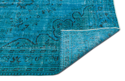 Turquoise  Over Dyed Vintage Rug 5'1'' x 8'4'' ft 156 x 255 cm