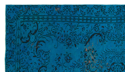 Turquoise  Over Dyed Vintage Rug 5'1'' x 8'10'' ft 154 x 270 cm