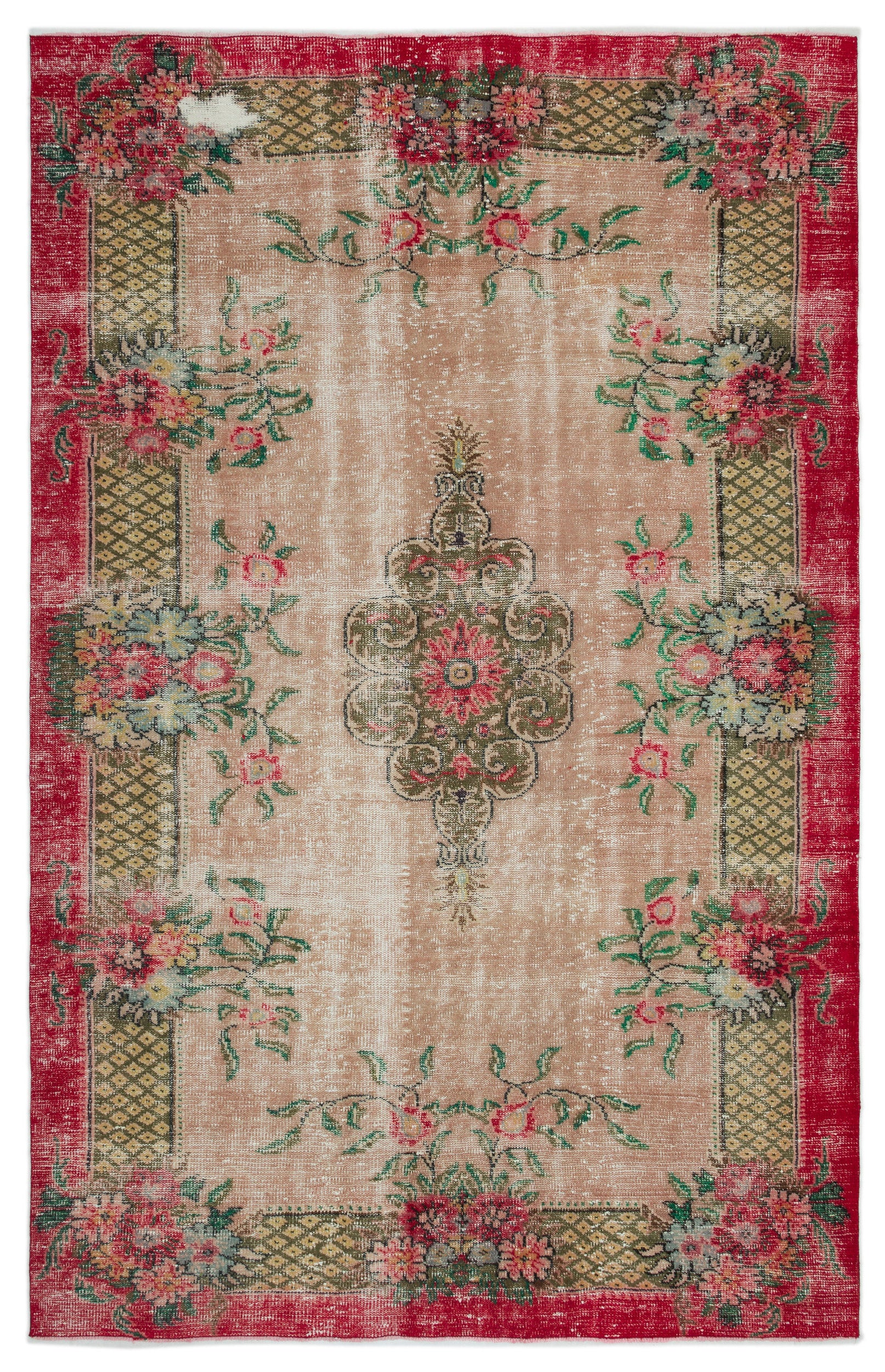 Retro Over Dyed Vintage Rug 6'4'' x 9'9'' ft 193 x 298 cm