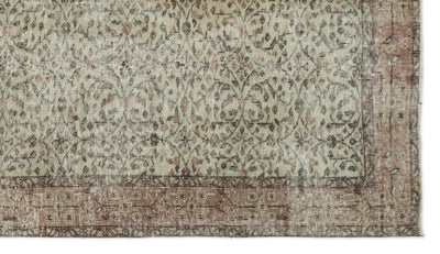 Brown Over Dyed Vintage Rug 4'12'' x 8'10'' ft 152 x 270 cm