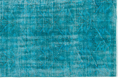 Turquoise  Over Dyed Vintage Rug 5'6'' x 8'3'' ft 167 x 252 cm