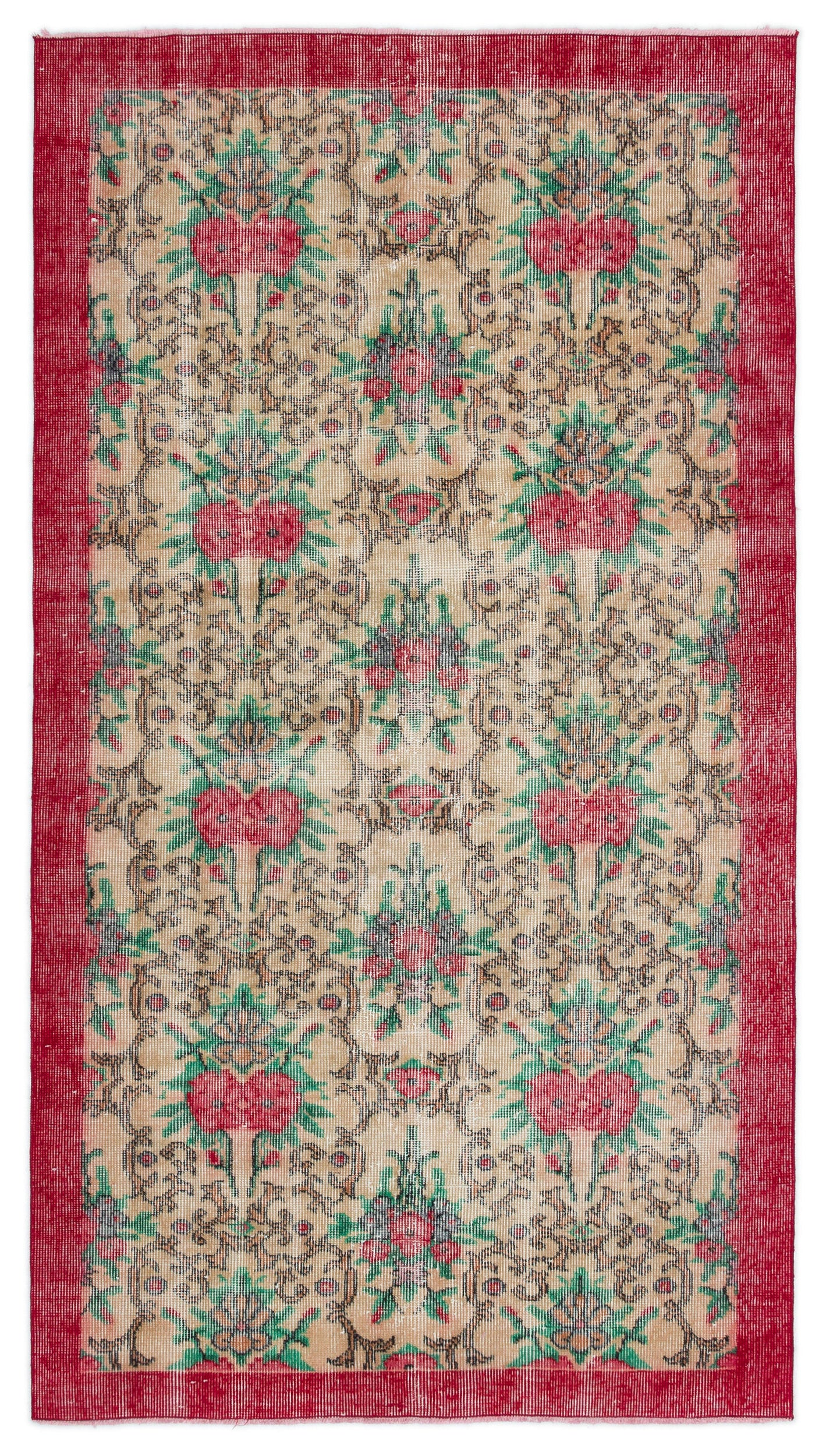 Retro Over Dyed Vintage Rug 3'8'' x 6'7'' ft 112 x 200 cm