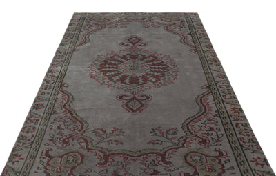 Gray Over Dyed Vintage Rug 5'3'' x 8'8'' ft 160 x 263 cm