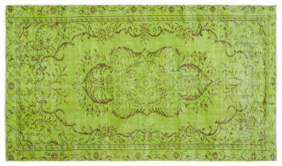 Green Over Dyed Vintage Rug 5'5'' x 9'3'' ft 166 x 283 cm