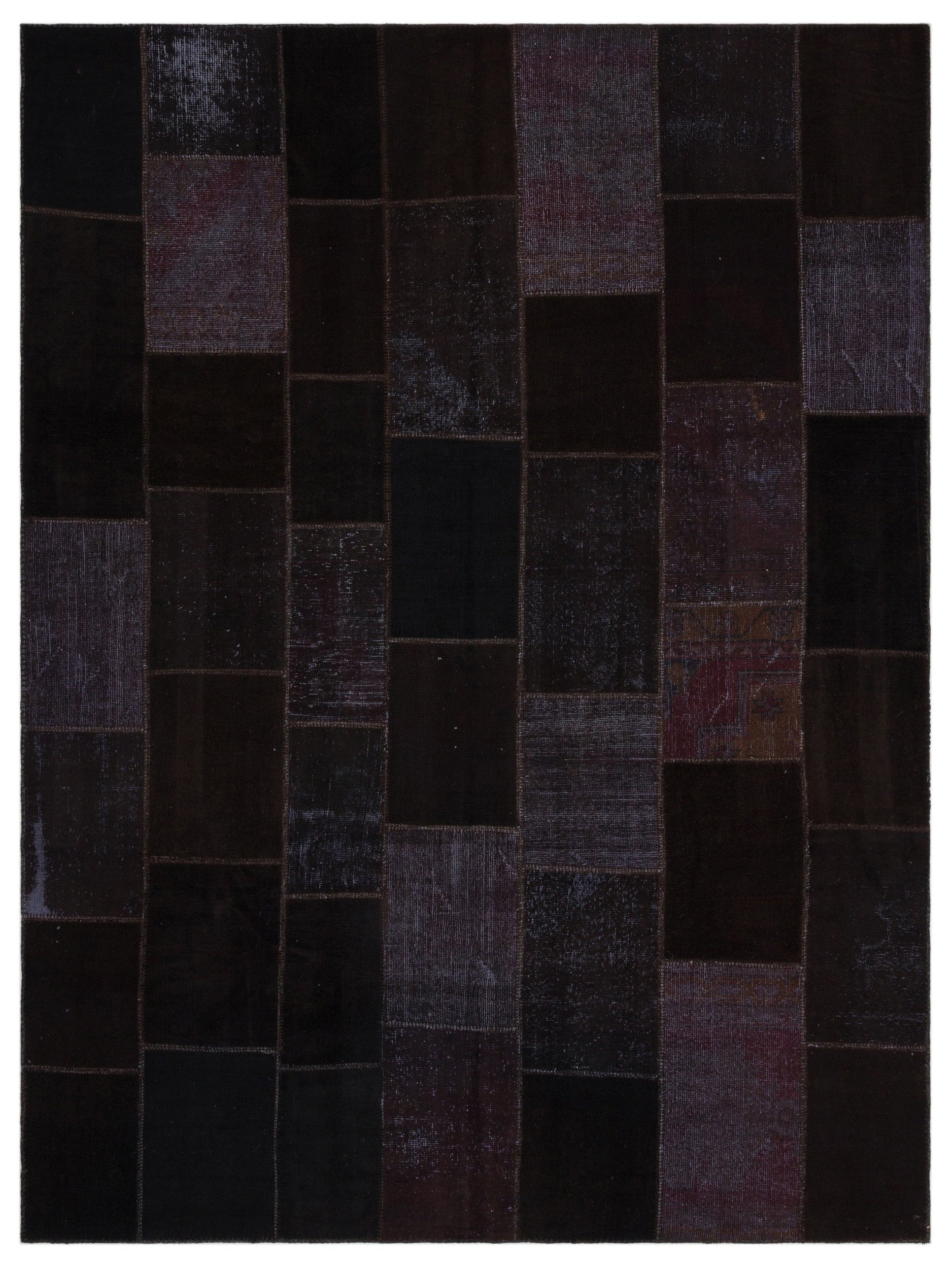 Black Over Dyed Patchwork Unique Rug 8'10'' x 11'10'' ft 270 x 361 cm