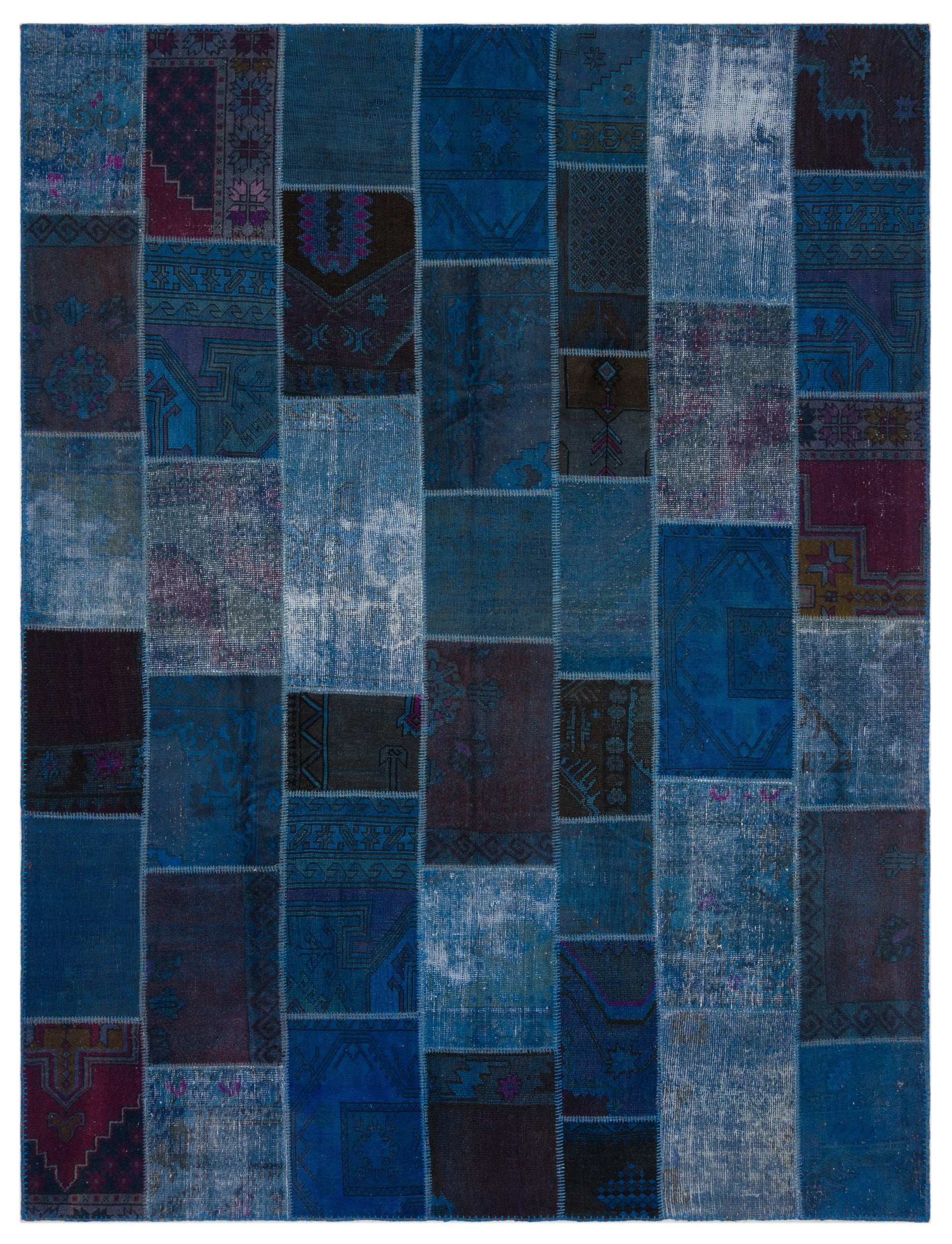 Blue Over Dyed Patchwork Unique Rug 8'10'' x 11'11'' ft 270 x 364 cm