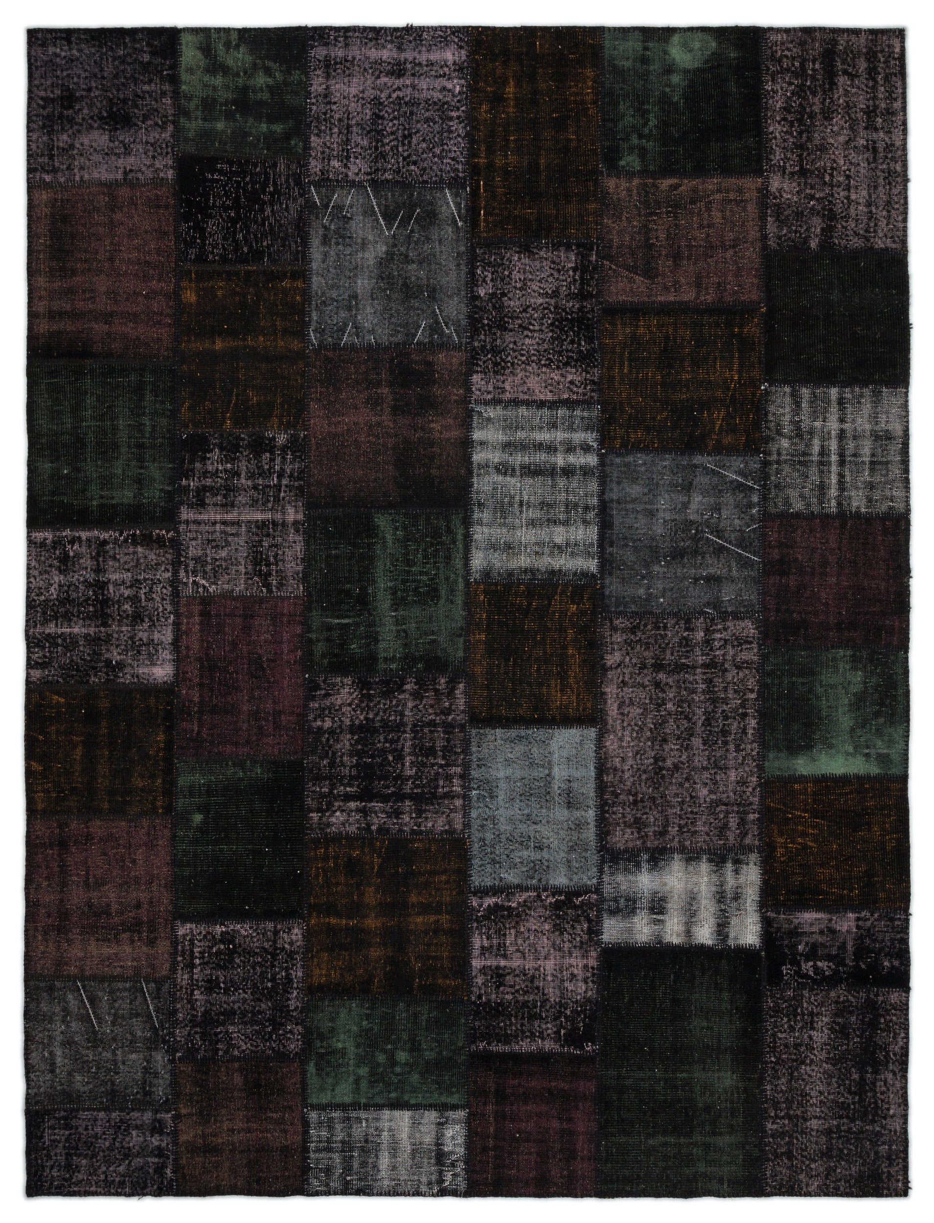 Black Over Dyed Patchwork Unique Rug 9'1'' x 11'12'' ft 276 x 365 cm
