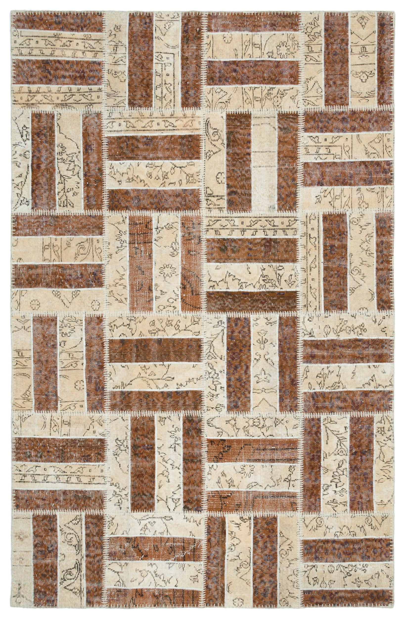 Beige Over Dyed Patchwork Unique Rug 5'3'' x 8'2'' ft 160 x 250 cm
