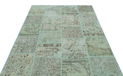 Green Over Dyed Patchwork Unique Rug 5'3'' x 7'7'' ft 160 x 231 cm