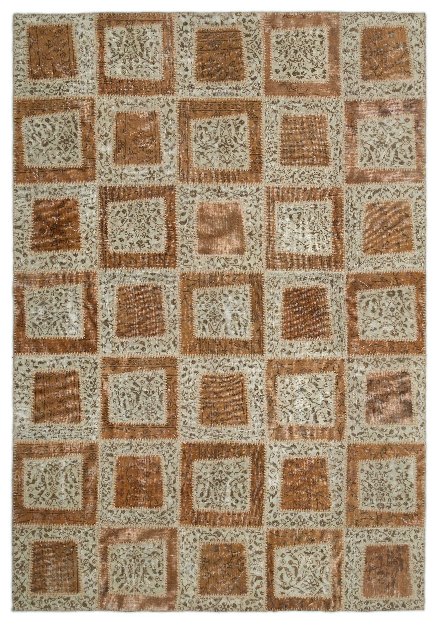Beige Over Dyed Patchwork Unique Rug 6'4'' x 9'2'' ft 194 x 280 cm