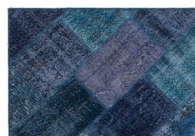 Turquoise  Over Dyed Patchwork Unique Rug 5'3'' x 7'7'' ft 161 x 232 cm