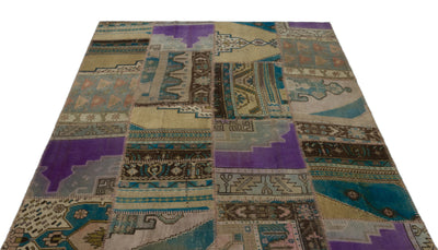 Anatolia Over Dyed Patchwork Unique Rug 5'1'' x 7'5'' ft 156 x 226 cm