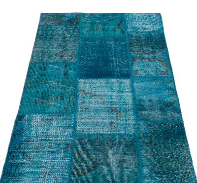 Turquoise  Over Dyed Patchwork Unique Rug 2'9'' x 4'10'' ft 83 x 147 cm