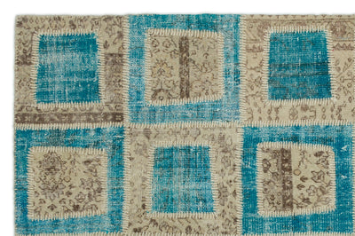 Turquoise  Over Dyed Patchwork Unique Rug 5'3'' x 7'11'' ft 160 x 242 cm