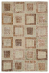 Beige Over Dyed Patchwork Unique Rug 5'3'' x 7'11'' ft 160 x 241 cm