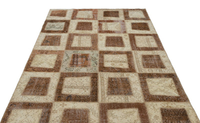 Beige Over Dyed Patchwork Unique Rug 5'3'' x 7'11'' ft 160 x 242 cm